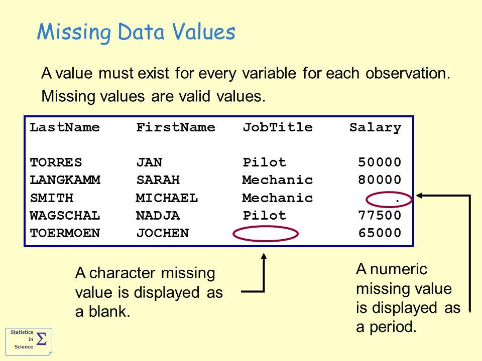 Statistics in Science  LastName FirstName JobTitle Salary TORRES JAN Pilot 50000 LANGKAMM SARAH Mechanic 80000 SMITH MICHAEL Mechanic.