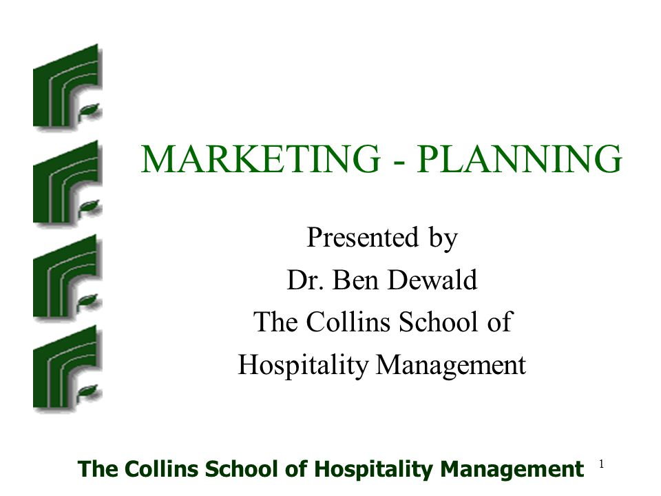 The Collins School of Hospitality Management 22 Database Direct communications rely on a good database of customers that should be targeted.
