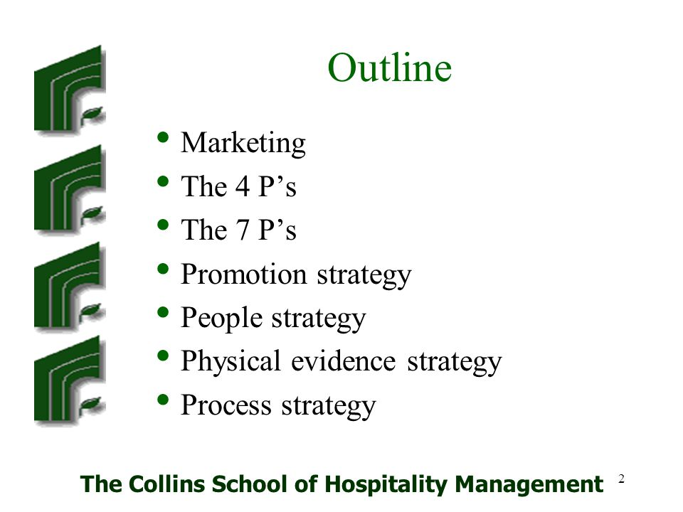 The Collins School of Hospitality Management 33 People Employees Customers contact Essential in production and delivery of services.