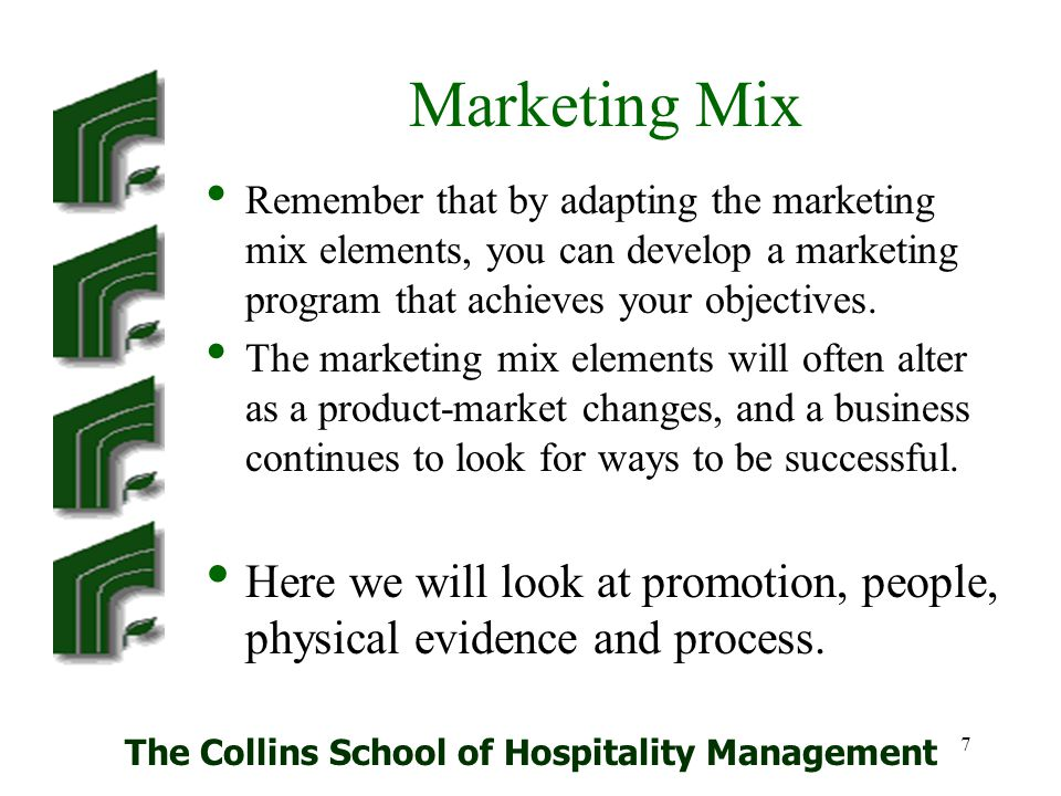 The Collins School of Hospitality Management 58 References and Resources Baker M J (1994) The Marketing Book 3rd edit.