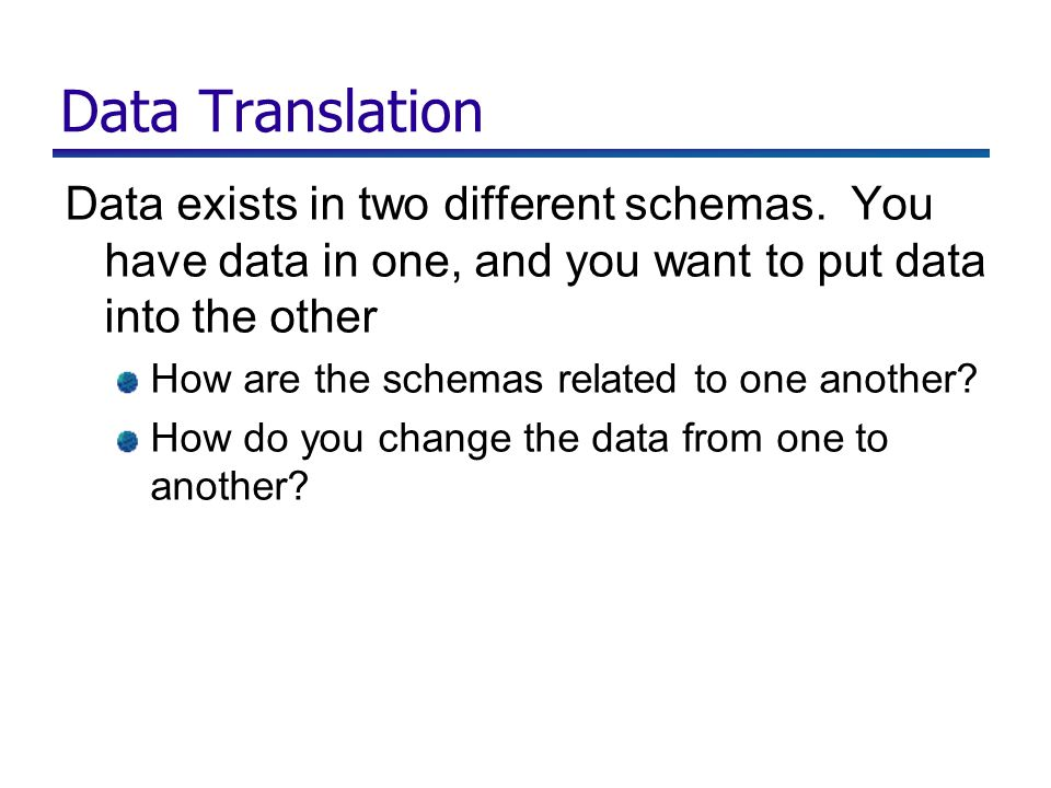 Data Translation Data exists in two different schemas.