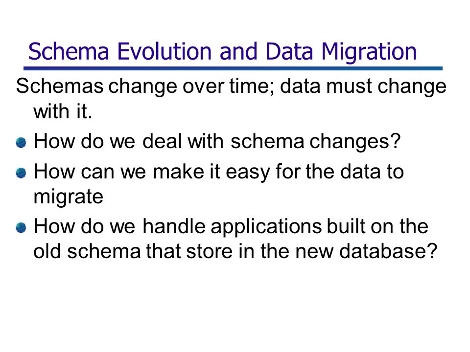 Schema Evolution and Data Migration Schemas change over time; data must change with it.