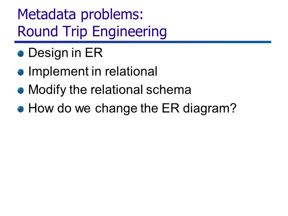 Metadata problems: Round Trip Engineering Design in ER Implement in relational Modify the relational schema How do we change the ER diagram
