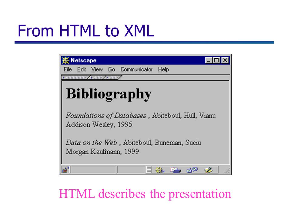 From HTML to XML HTML describes the presentation
