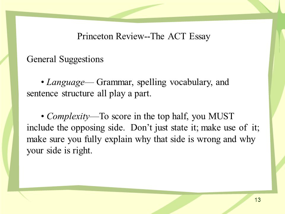 13 Princeton Review--The ACT Essay General Suggestions Language— Grammar, spelling vocabulary, and sentence structure all play a part.