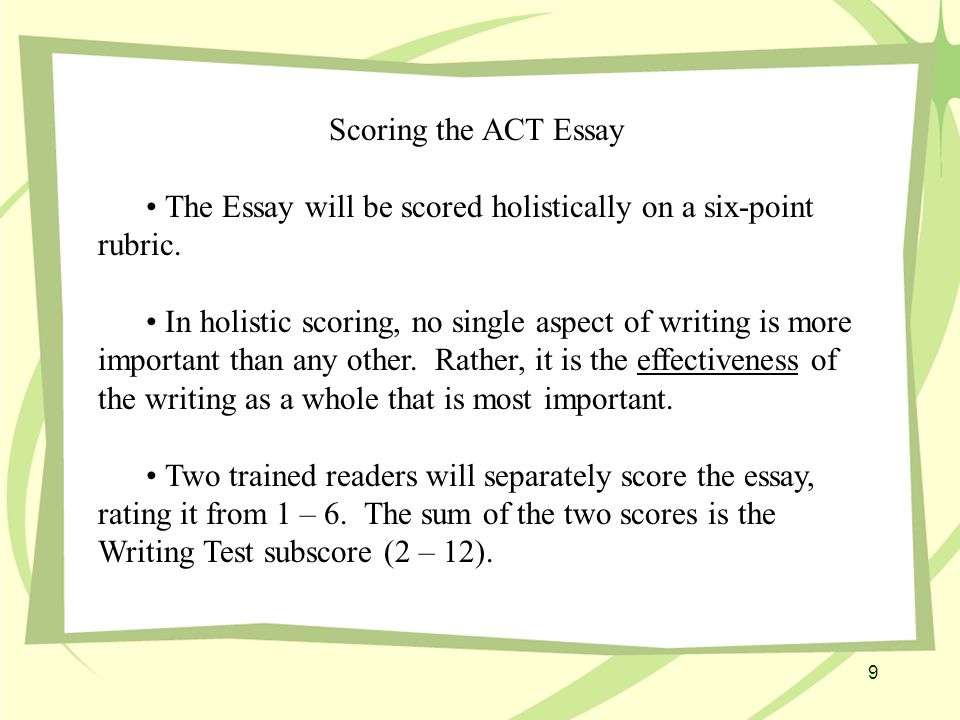 10 The ACT Essay Students are advised to Make the essay as polished as possible.