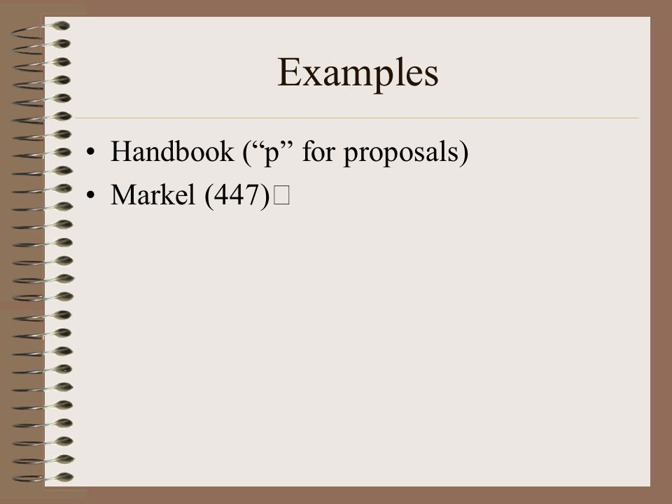 "Examples Handbook (""p"" for proposals) Markel (447)"