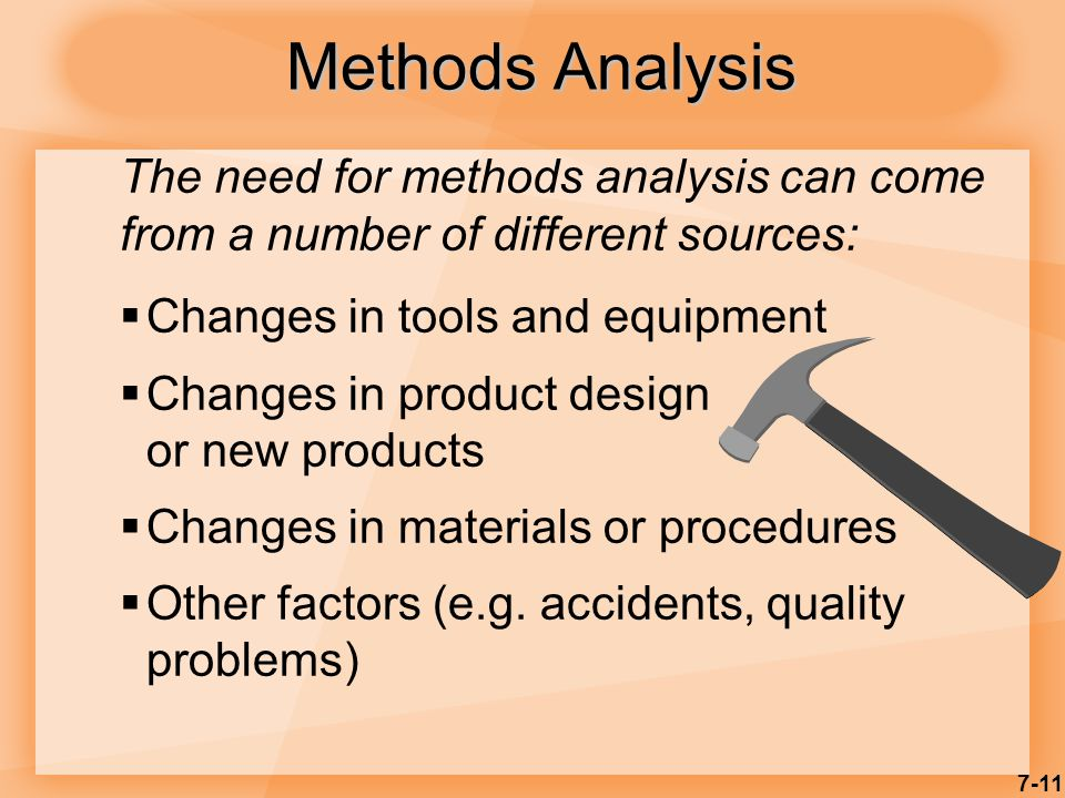 7-11 Methods Analysis  Changes in tools and equipment  Changes in product design or new products  Changes in materials or procedures  Other factors (e.g.