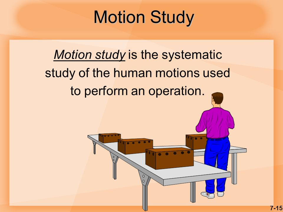 7-15 Motion Study Motion study is the systematic study of the human motions used to perform an operation.