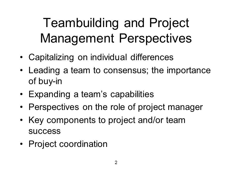 2 Teambuilding and Project Management Perspectives Capitalizing on individual differences Leading a team to consensus; the importance of buy-in Expanding a team's capabilities Perspectives on the role of project manager Key components to project and/or team success Project coordination