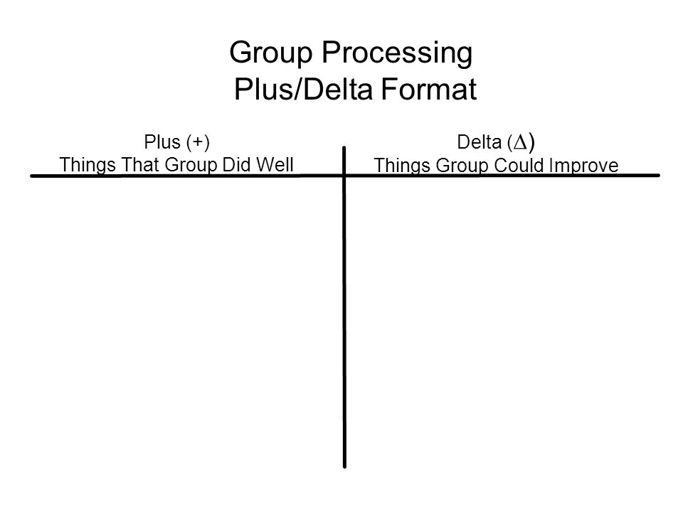 Group Processing Plus/Delta Format Plus (+) Things That Group Did Well Delta ( ∆) Things Group Could Improve