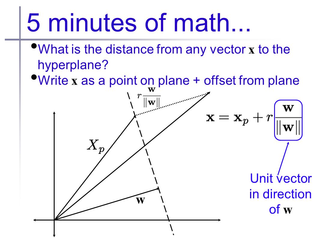 5 minutes of math... What is the distance from any vector x to the hyperplane.