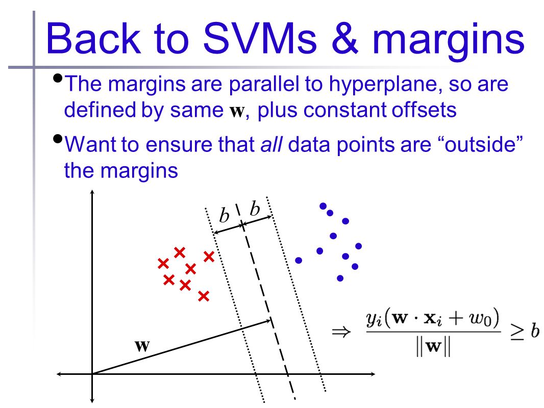 Back to SVMs & margins The margins are parallel to hyperplane, so are defined by same w, plus constant offsets Want to ensure that all data points are outside the margins w b b