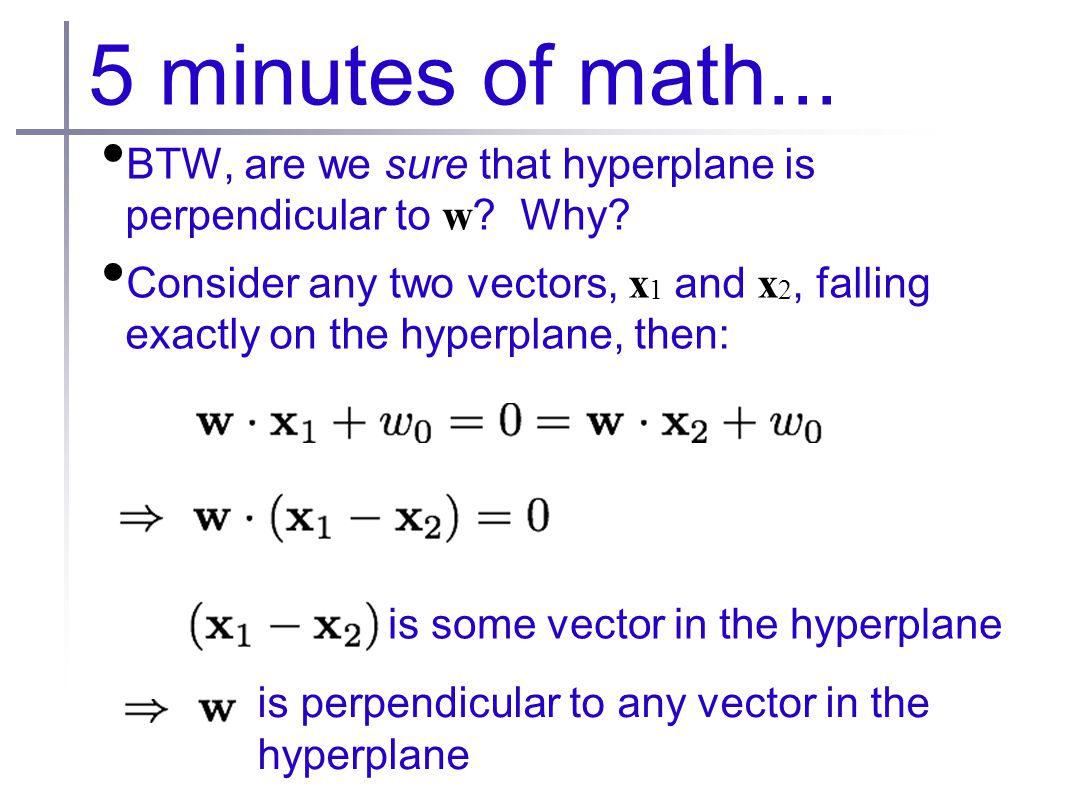 5 minutes of math... BTW, are we sure that hyperplane is perpendicular to w .