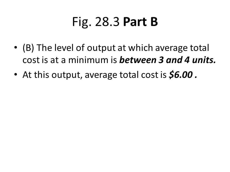 Fig. 28.3 Part B (B) The level of output at which average total cost is at a minimum is between 3 and 4 units. At this output, average total cost is $