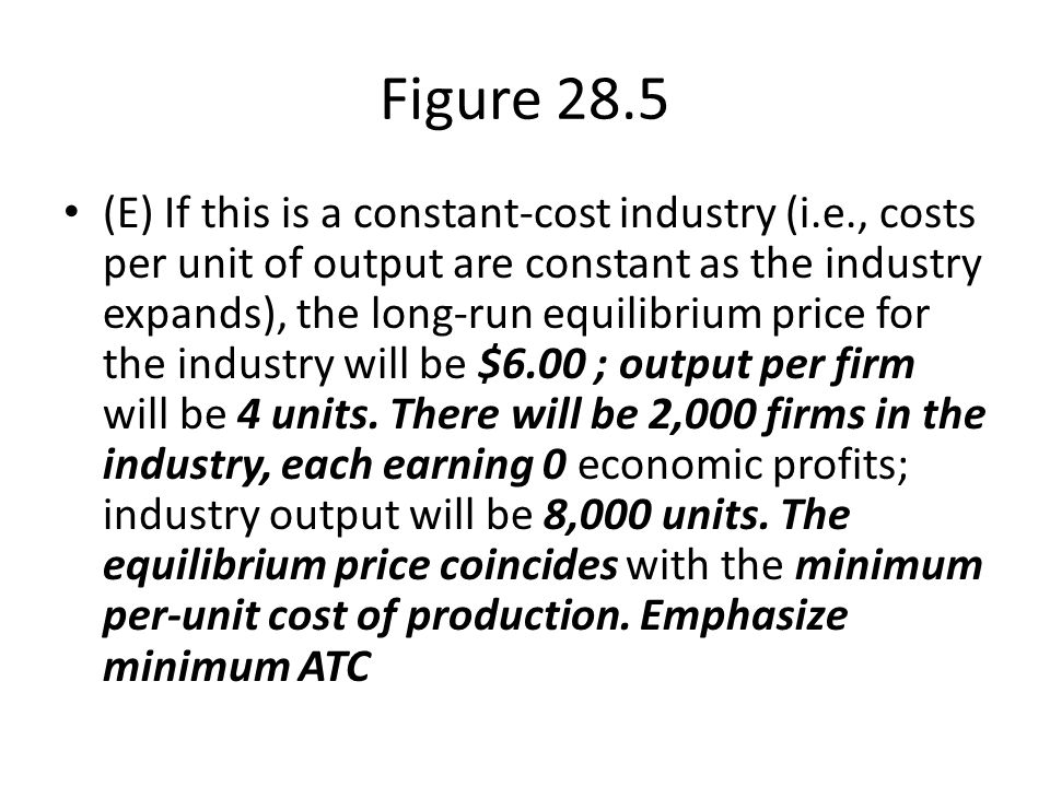 Figure 28.5 (E) If this is a constant-cost industry (i.e., costs per unit of output are constant as the industry expands), the long-run equilibrium pr