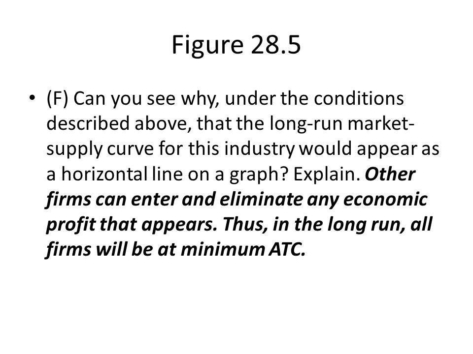 Figure 28.5 (F) Can you see why, under the conditions described above, that the long-run market- supply curve for this industry would appear as a hori