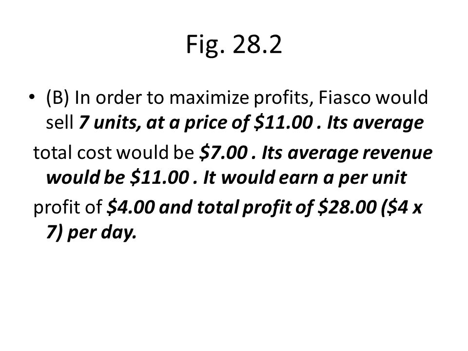 Fig. 28.2 (B) In order to maximize profits, Fiasco would sell 7 units, at a price of $11.00. Its average total cost would be $7.00. Its average revenu