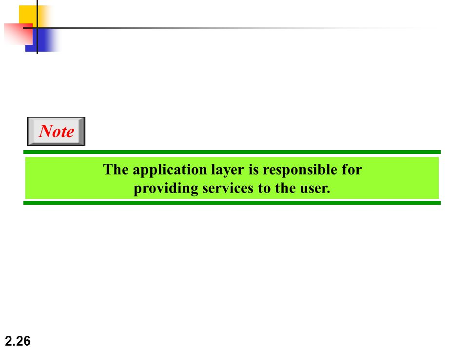 2.26 The application layer is responsible for providing services to the user. Note