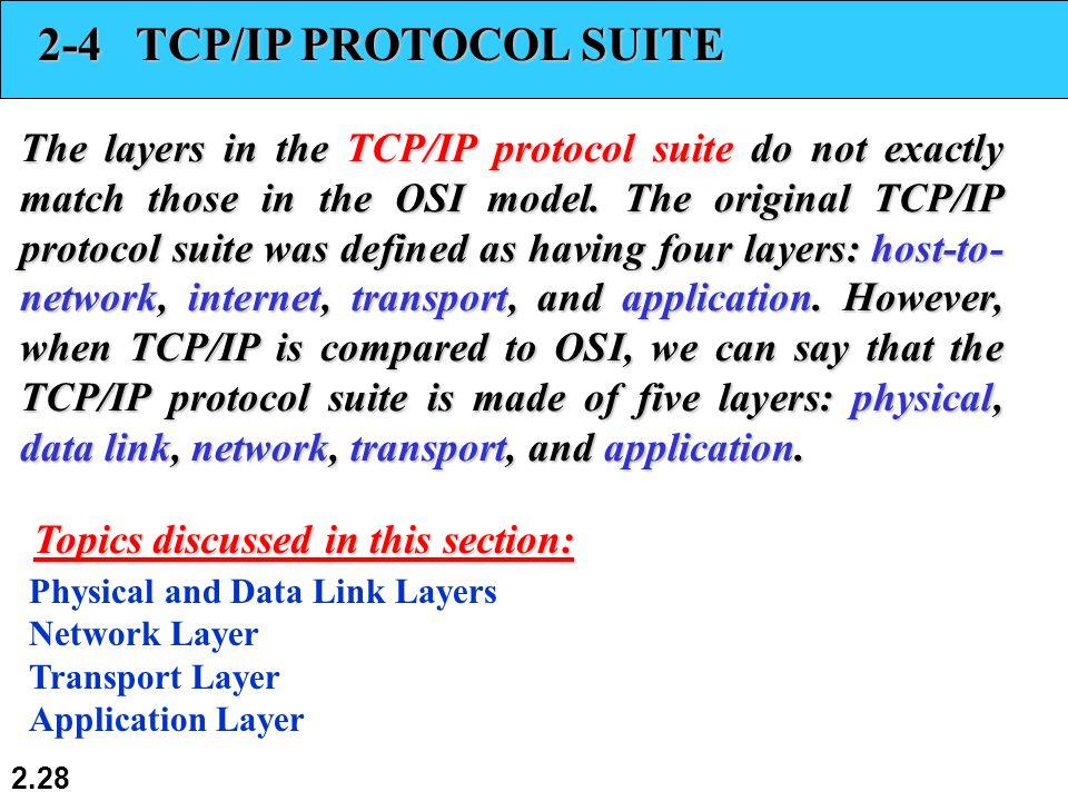2.28 2-4 TCP/IP PROTOCOL SUITE The layers in the TCP/IP protocol suite do not exactly match those in the OSI model.