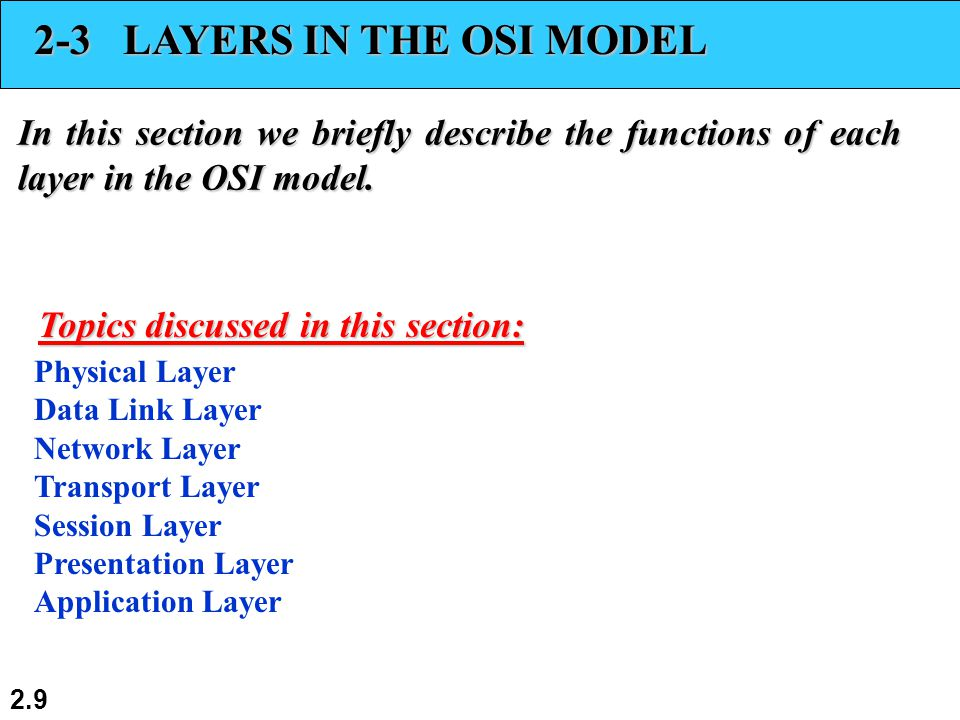 2.9 2-3 LAYERS IN THE OSI MODEL In this section we briefly describe the functions of each layer in the OSI model.