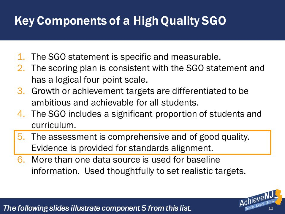 12 Key Components of a High Quality SGO 1.The SGO statement is specific and measurable. 2.The scoring plan is consistent with the SGO statement and ha