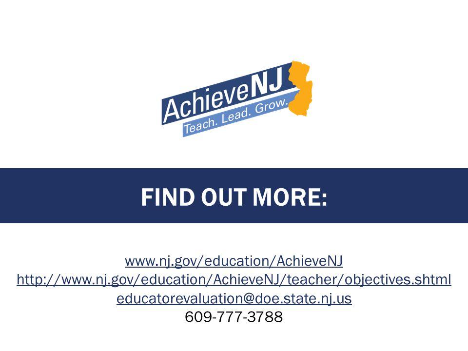 FIND OUT MORE: www.nj.gov/education/AchieveNJ http://www.nj.gov/education/AchieveNJ/teacher/objectives.shtml educatorevaluation@doe.state.nj.us 609-77