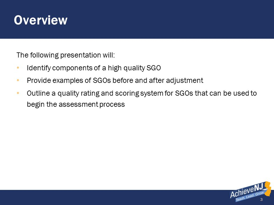 14 Example of a High Quality SGO Multiple components, common assessment GradeSubject Number of Students Interval of Instruction 9Physical Science21 /65 10/1/13 to 4/30/14 Standards, Rationale, and Assessment Method Name the content standards covered, state the rationale for how these standards are critical for the next level of the subject, other academic disciplines, and/or life/college/career.