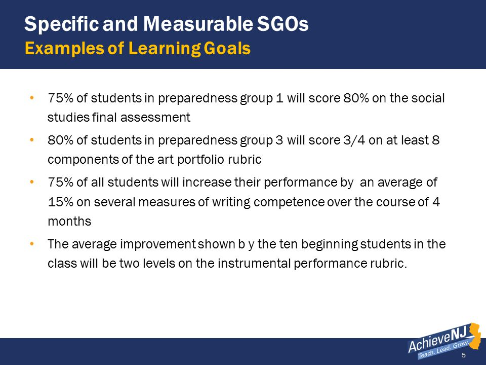 6 Example of a Low Quality SGO Objective is Unclear/Targets Too Low Student Growth Objective Students will increase their understanding of motion and energy.