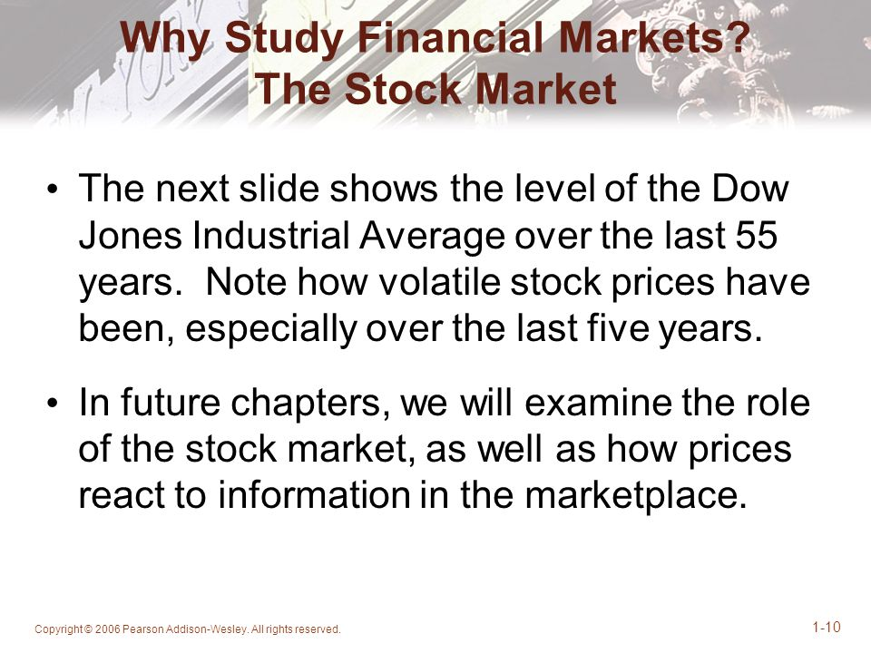Copyright © 2006 Pearson Addison-Wesley. All rights reserved. 1-10 Why Study Financial Markets? The Stock Market The next slide shows the level of the