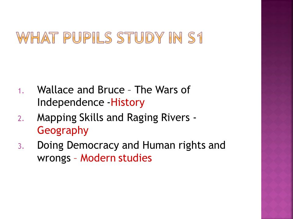 1. Wallace and Bruce – The Wars of Independence -History 2. Mapping Skills and Raging Rivers - Geography 3. Doing Democracy and Human rights and wrong