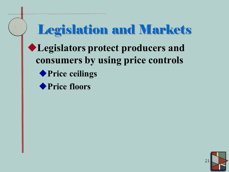 21 Legislation and Markets  Legislators protect producers and consumers by using price controls  Price ceilings  Price floors
