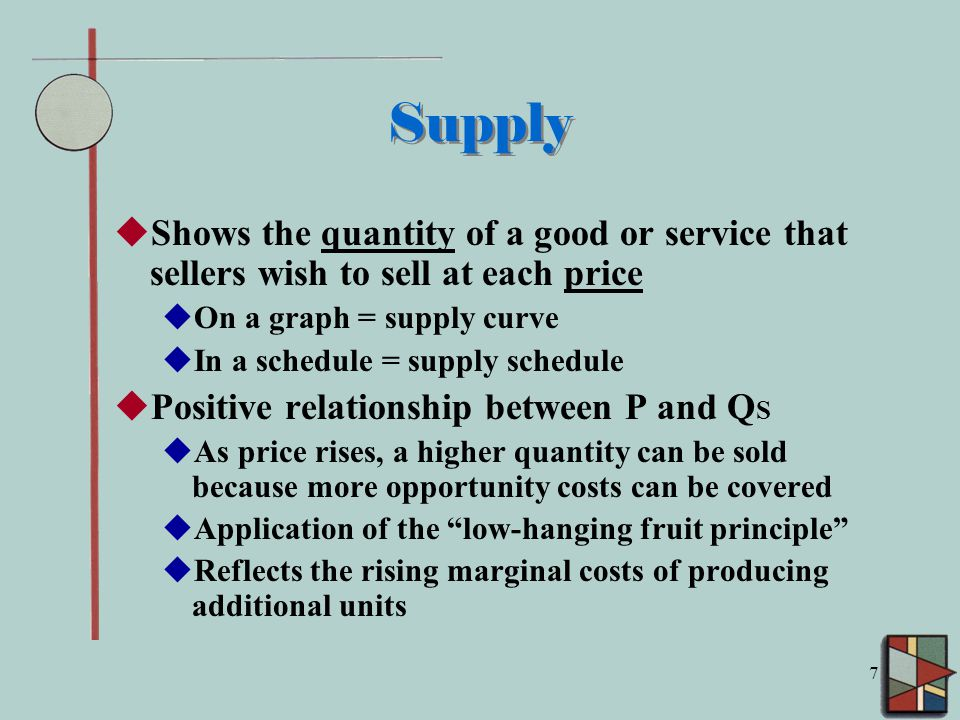 7 Supply  Shows the quantity of a good or service that sellers wish to sell at each price  On a graph = supply curve  In a schedule = supply schedule  Positive relationship between P and Q S  As price rises, a higher quantity can be sold because more opportunity costs can be covered  Application of the low-hanging fruit principle  Reflects the rising marginal costs of producing additional units