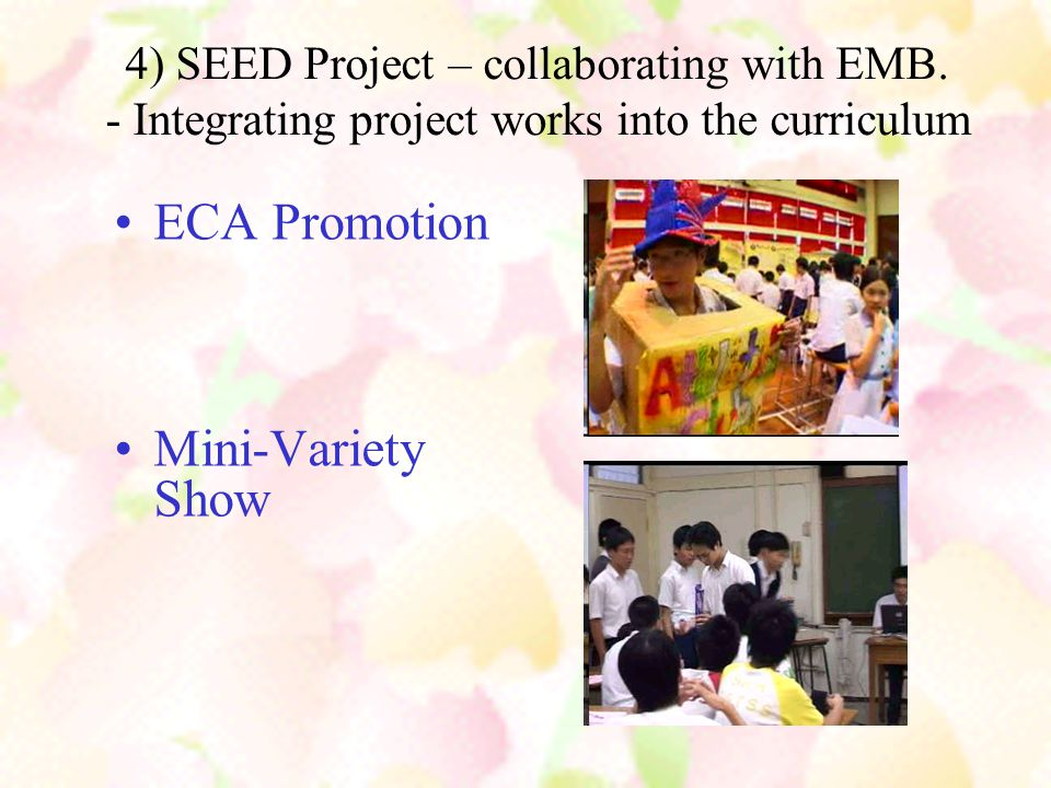 B) Ways to boost students' English proficiency & develop reading habit  Whole school language policies  Hong Kong Extensive Reading Scheme (HKERS)  F.1 customized enhancement programme  The Reading Lounge