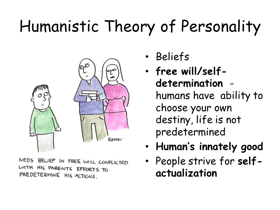Humanistic Theory of Personality Beliefs free will/self- determination - humans have ability to choose your own destiny, life is not predetermined Hum