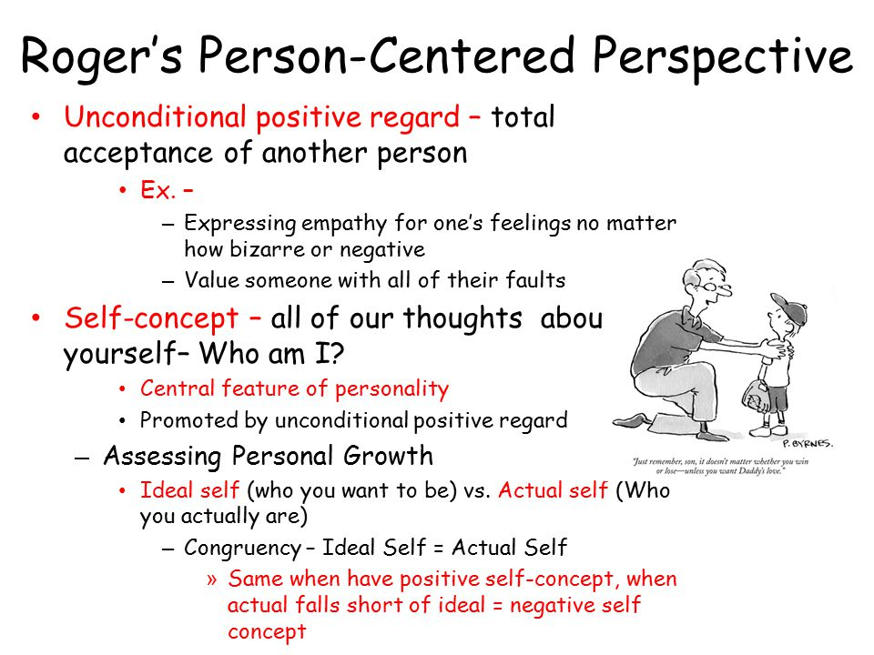 Roger's Person-Centered Perspective Unconditional positive regard – total acceptance of another person Ex. – – Expressing empathy for one's feelings n