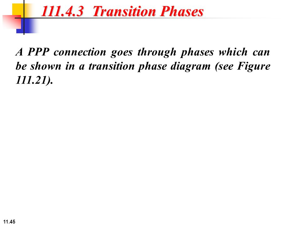 11.45 111.4.3 Transition Phases A PPP connection goes through phases which can be shown in a transition phase diagram (see Figure 111.21).