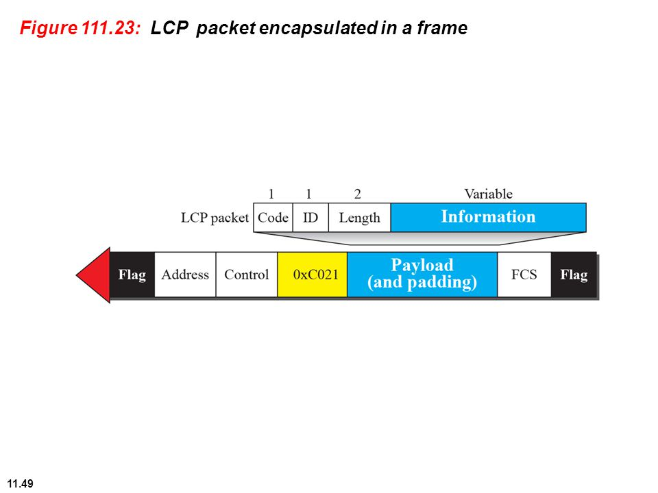 11.49 Figure 111.23: LCP packet encapsulated in a frame