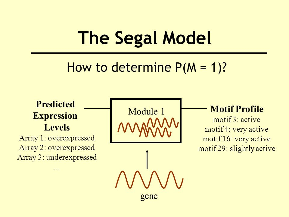 The Segal Model How to determine P(M = 1).