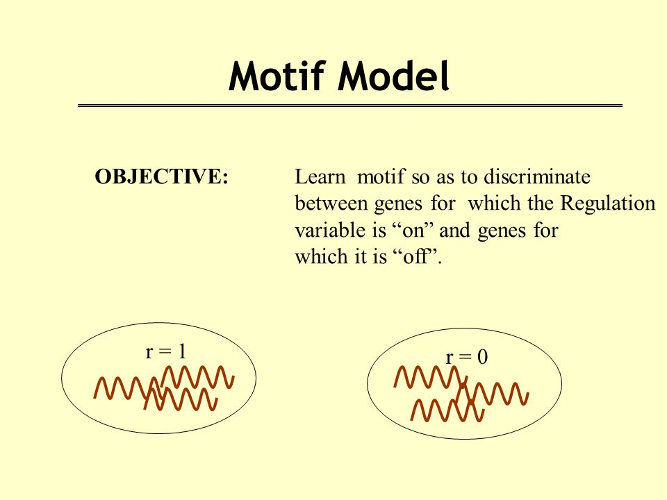 Motif Model OBJECTIVE: Learn motif so as to discriminate between genes for which the Regulation variable is on and genes for which it is off .