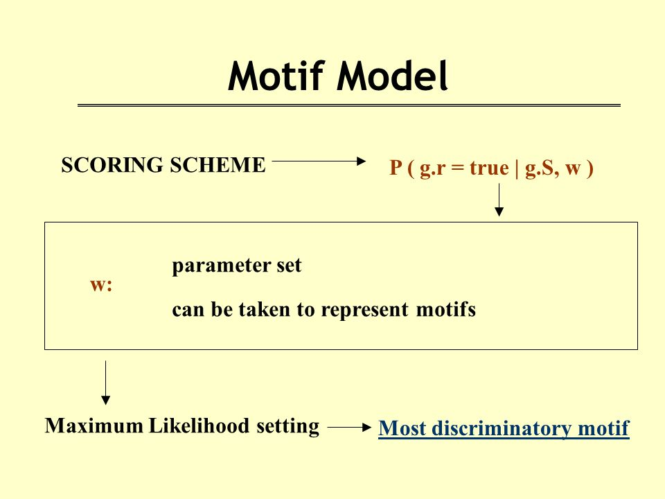 Motif Model SCORING SCHEME P ( g.r = true | g.S, w ) w: parameter set can be taken to represent motifs Maximum Likelihood setting Most discriminatory motif
