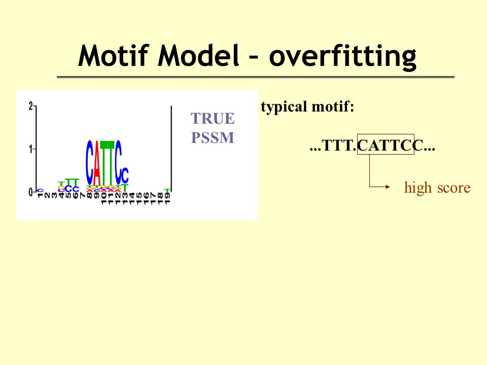 Motif Model – overfitting typical motif:...TTT.CATTCC... high score TRUE PSSM