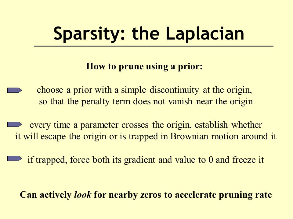 Sparsity: the Laplacian How to prune using a prior: choose a prior with a simple discontinuity at the origin, so that the penalty term does not vanish near the origin every time a parameter crosses the origin, establish whether it will escape the origin or is trapped in Brownian motion around it if trapped, force both its gradient and value to 0 and freeze it Can actively look for nearby zeros to accelerate pruning rate