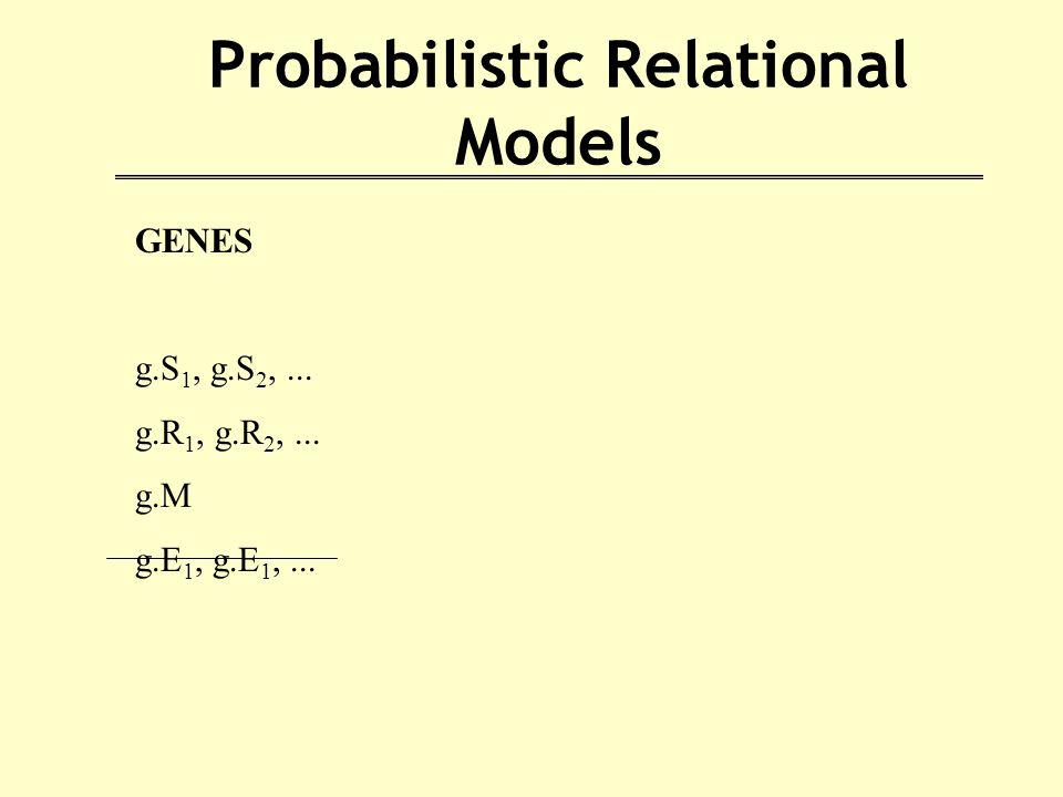 Probabilistic Relational Models GENES g.S 1, g.S 2,... g.R 1, g.R 2,... g.M g.E 1, g.E 1,...