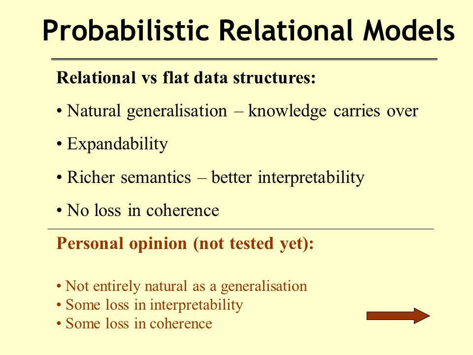 Probabilistic Relational Models Relational vs flat data structures: Natural generalisation – knowledge carries over Expandability Richer semantics – better interpretability No loss in coherence Personal opinion (not tested yet): Not entirely natural as a generalisation Some loss in interpretability Some loss in coherence