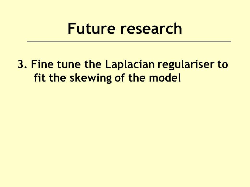 Future research 3. Fine tune the Laplacian regulariser to fit the skewing of the model