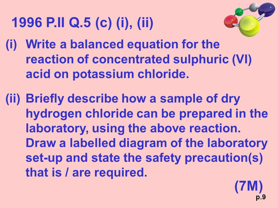 1996 P.II Q.5 (c) (i), (ii) (i)Write a balanced equation for the reaction of concentrated sulphuric (VI) acid on potassium chloride. (7M) (ii)Briefly
