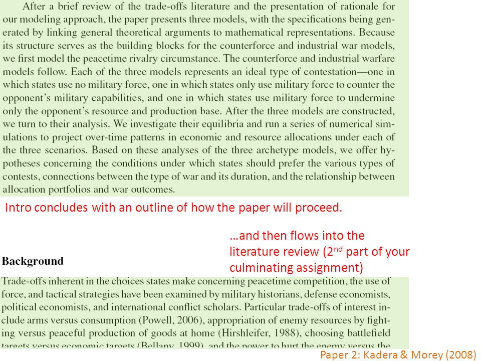 Intro concludes with an outline of how the paper will proceed. …and then flows into the literature review (2 nd part of your culminating assignment) P