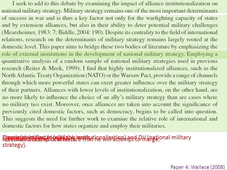Clearly identifies IV (alliance institutionalization) and DV (national military strategy).
