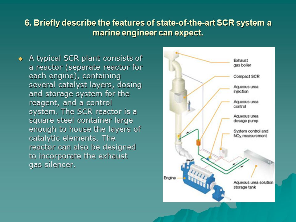 6. Briefly describe the features of state-of-the-art SCR system a marine engineer can expect.  A typical SCR plant consists of a reactor (separate re